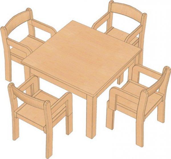 kindergarten tische und st hle set quadrattisch mit 4 tim kindergarten. Black Bedroom Furniture Sets. Home Design Ideas